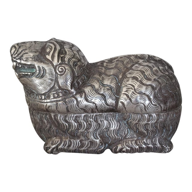 Antique Khmer Sterling Silver Betel Nut Box For Sale