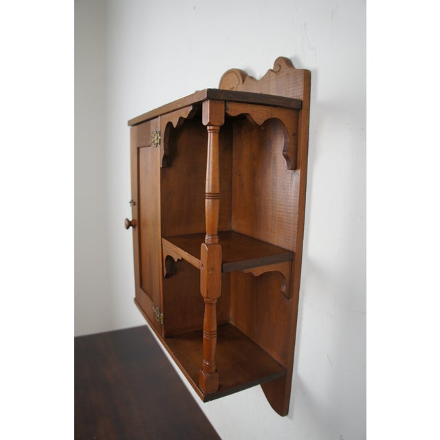 Tan 20th Century Early American Style Antique Pine Wall Hanging Medicine Cabinet For Sale - Image 8 of 13