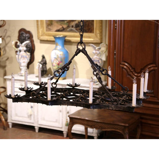 19th Century French Gothic Forged Iron Flat Bottom Ten-Light Chandelier For Sale - Image 13 of 13