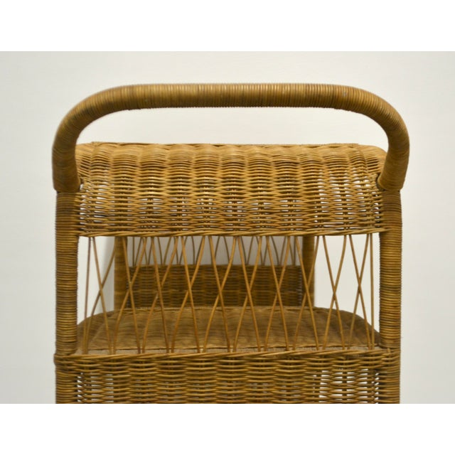 1960s Mid-Century Woven Rattan Bar Cart For Sale - Image 10 of 12