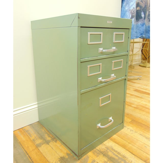 Cole industrial light green metal file cabinet chairish cole industrial light green metal file cabinet image 4 of 8 malvernweather Image collections