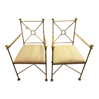 Vintage Gilt Iron Chairs - A Pair