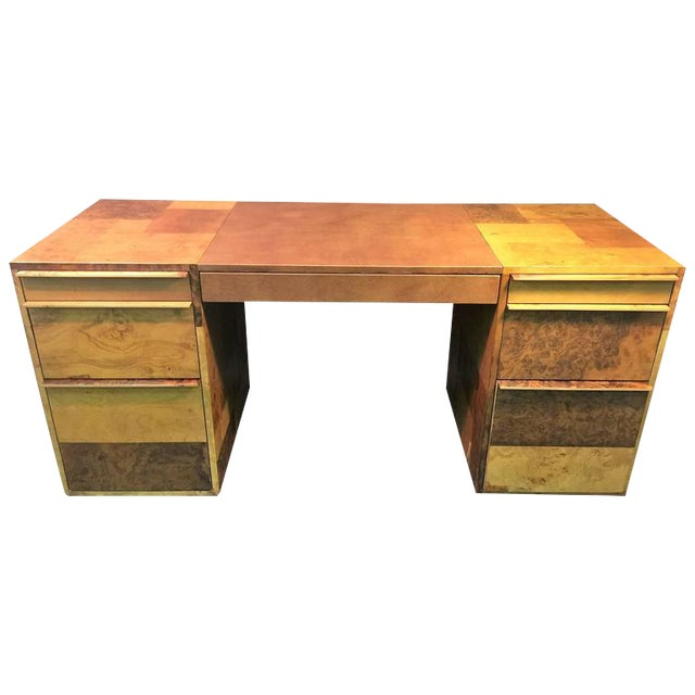 PAUL EVANS PATCHWORK BURLED WOOD AND LEATHER DESK - Image 1 of 10