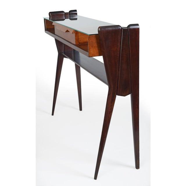 Ico Parisi Italian 1950s Ico Parisi Att., Biomorphic Three-Tone Rosewood and Glass Console For Sale - Image 4 of 7