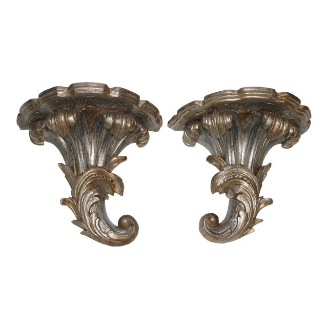 Mid-Century Louis XV Style Brackets Silver Leaf - a Pair For Sale