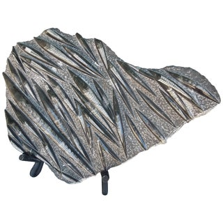 Large Grey and Black Orthoceras Fossil Sculpture on Stand For Sale