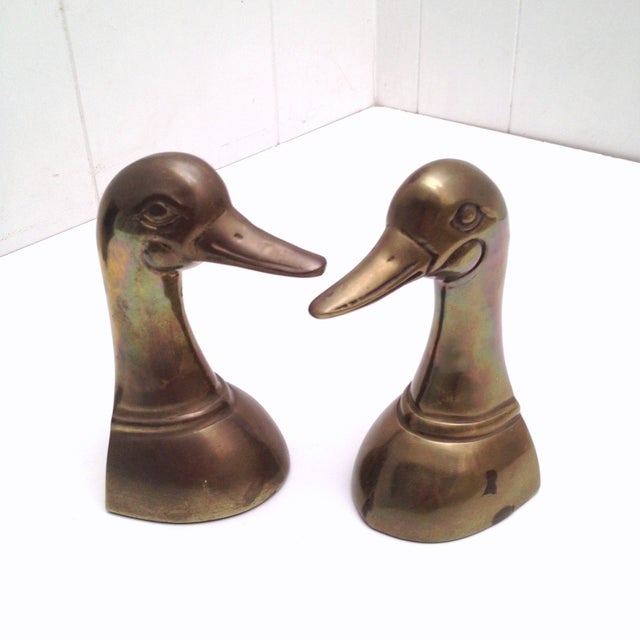 Vintage Mid-Century Brass Duck Bookends - Image 4 of 6