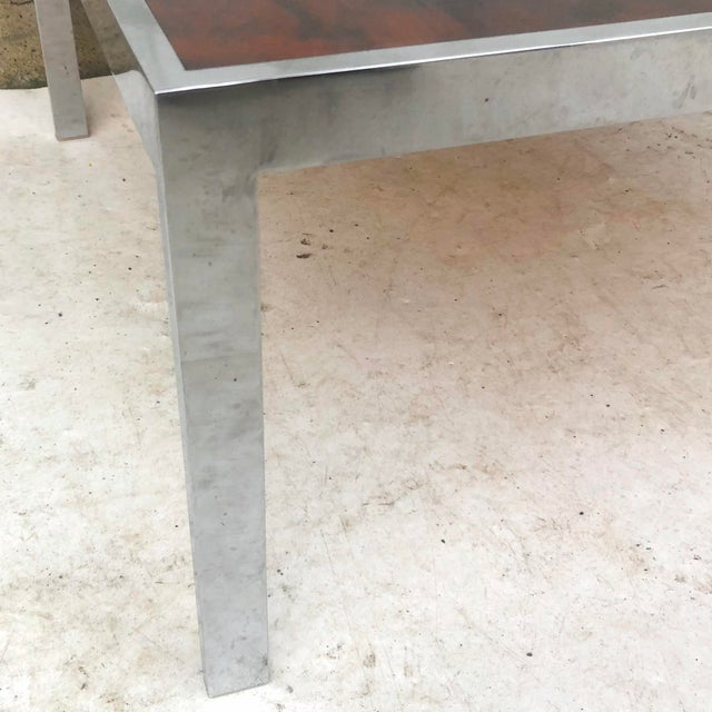 Metal Vintage Modern Rosewood and Chrome Coffee Table For Sale - Image 7 of 13