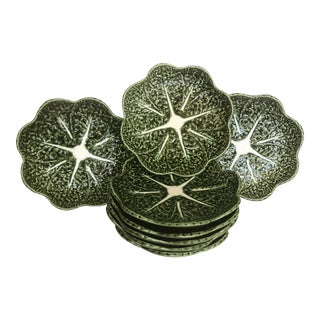 Olfaire Green Cabbage Leaf Plates- Set of 8 For Sale