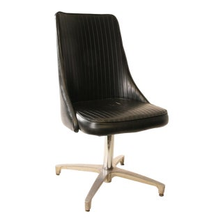 Chromcraft Mid-Century Black Swivel Dining Chair