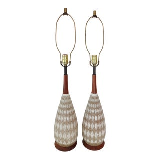 Mid-Century Textured Diamond Pattern Plaster and Teak Lamps - a Pair For Sale