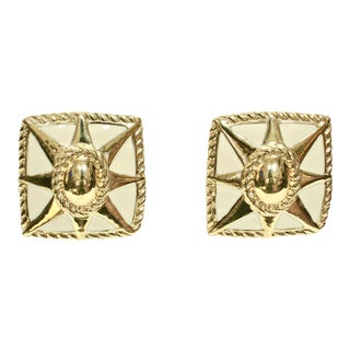Givenchy Modernist Sunburst Enamel Earrings For Sale
