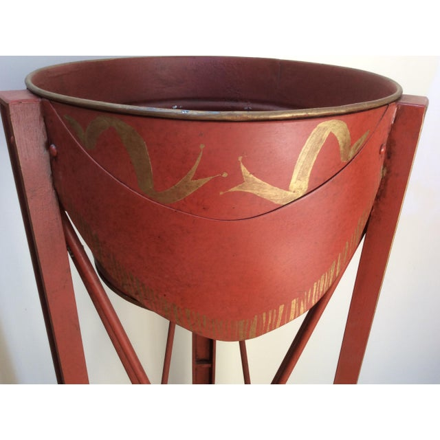 Red Painted Tole & Bronze Plant Stands - A Pair For Sale - Image 8 of 9
