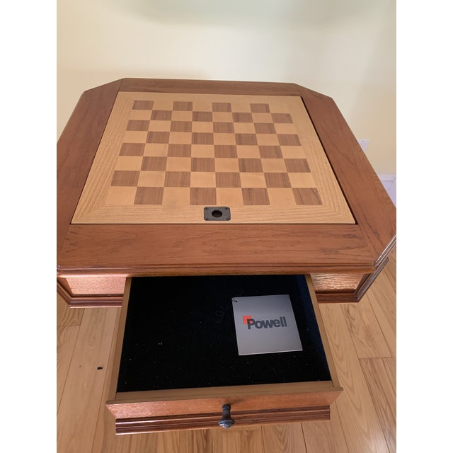 Solid Wood Pedestal Leg Chess Table by Powell For Sale - Image 4 of 6