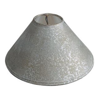 Vintage Clip-On lampshade Grey & Ecru Parchment Paper With Silver Foil Liner For Sale
