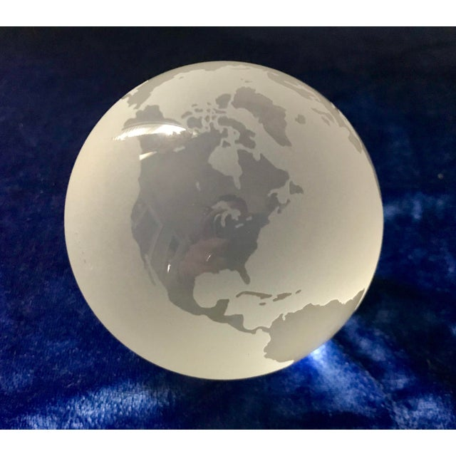 Glass Tiffany & Co Etched Crystal World Globe Paper Weight For Sale - Image 7 of 7
