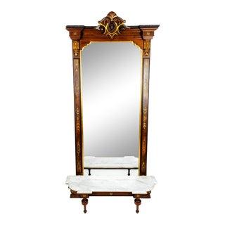 Antique Victorian Walnut Pier Mirror For Sale