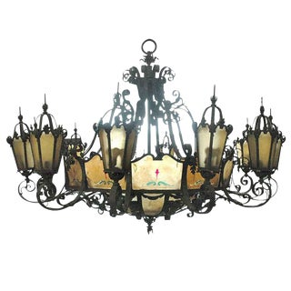 Iron & Bronze Theater Chandelier with Mica For Sale