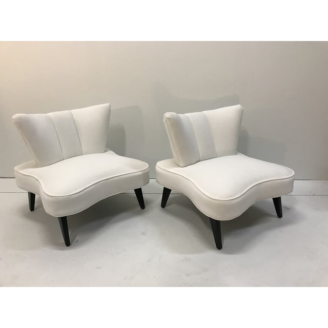 Art Deco 20th Century Pair Sculptural Art Deco Slipper Arm Less Chairs Attributed to Grosfeld House For Sale - Image 3 of 12