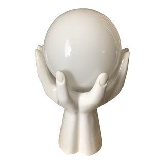 Vintage Art Deco White Ceramic Hands Hand Globe Table Lamp For Sale