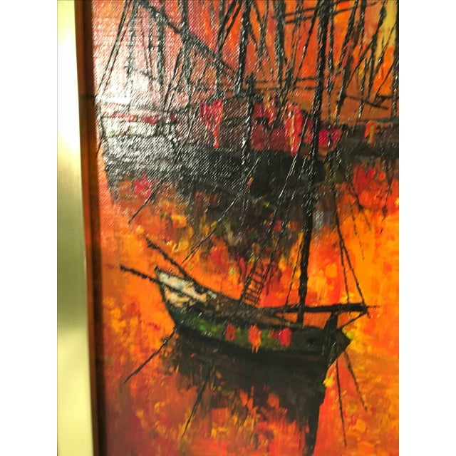 Vintage 1960s Abstract Sailboats Painting - Image 7 of 9