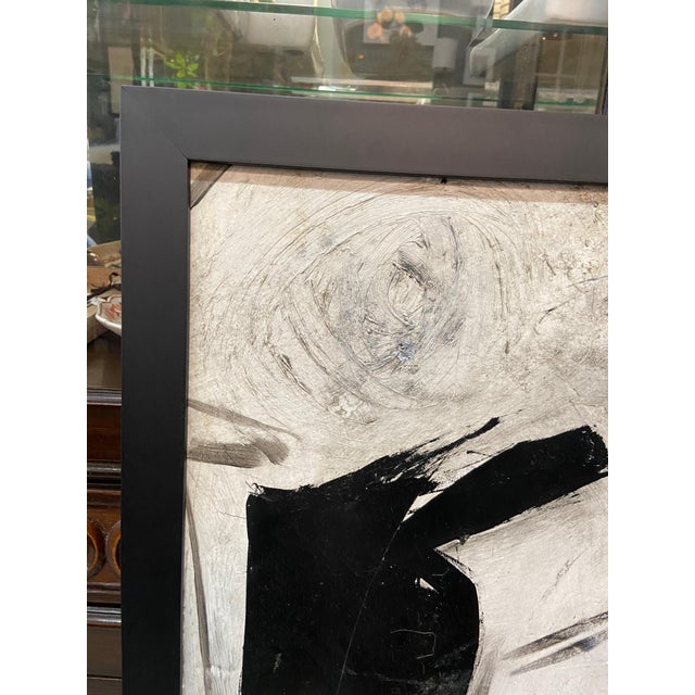 Mid-Century Modern 1960s Abstract Black and White Painting by Graham Harmon For Sale - Image 3 of 13
