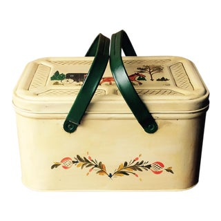 Decorative Vintage Tin Breadbox / PIcnic Basket For Sale