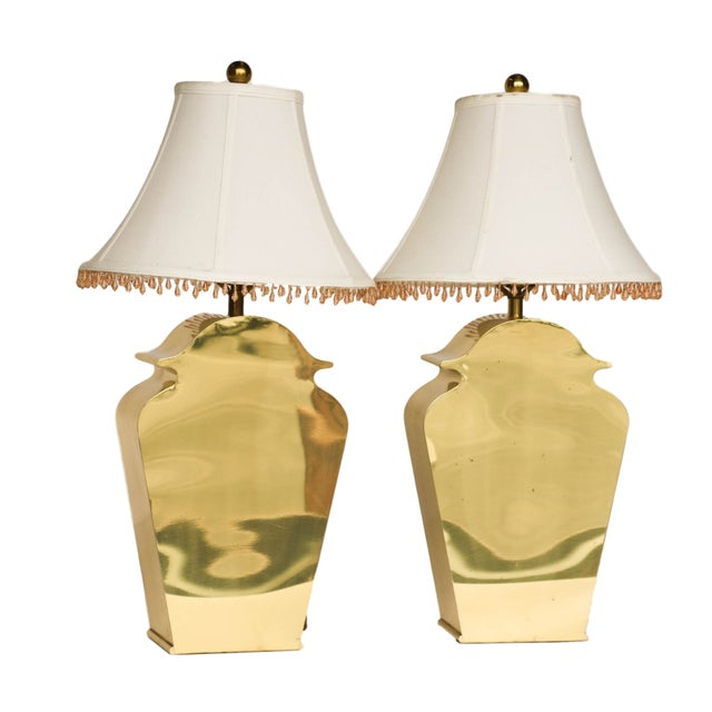 Mid-Century Chapman Brass Table Lamps - A Pair - Image 2 of 10