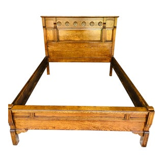 1880s Antique Eastlake Style Full Size Oak Bed Frame For Sale
