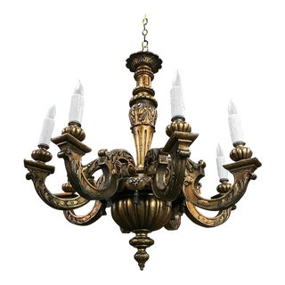 Antique Italian Hand Painted Gilded Wood Chandelier For Sale