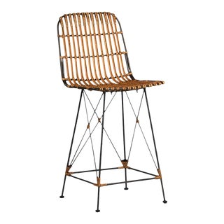 Bamboo & Iron Counter Stool For Sale