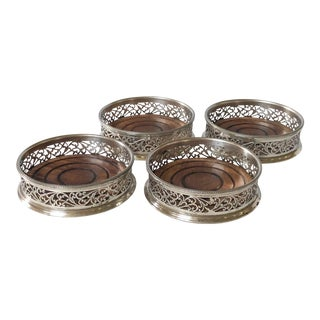 Set of 4 Silver Plate Wine Coasters For Sale