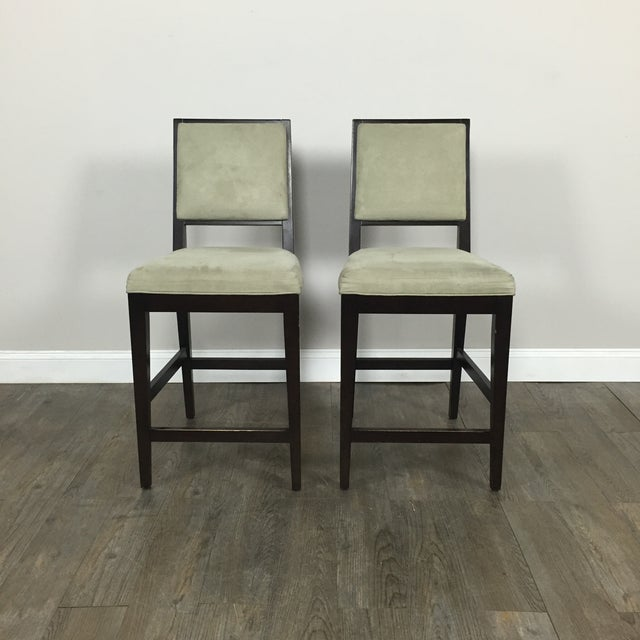 Crate & Barrel Upholstered Bar Stools - A Pair - Image 2 of 11
