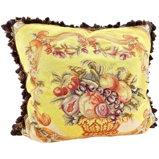 Large Victorian Style Needlepoint Pillow Fruit Bowl Design With Down For Sale