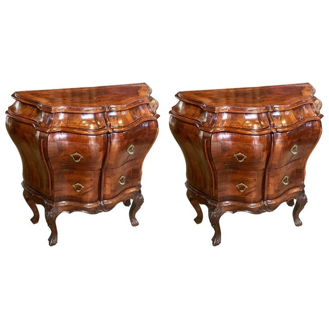 Mid-Century Italian Figured Walnut Bedside Commodes- A Pair For Sale - Image 4 of 4