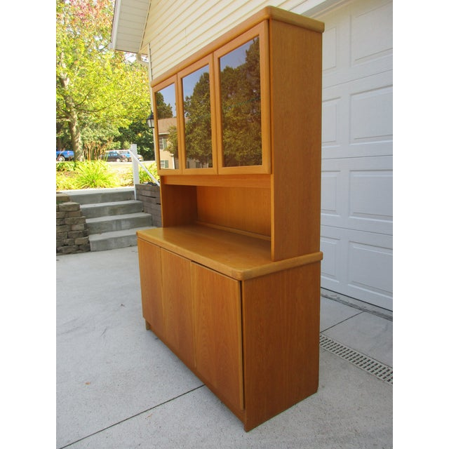 Danish Modern Teak Lighted Hutch or Cabinet by Christian Linneberg -Denmark For Sale - Image 3 of 11