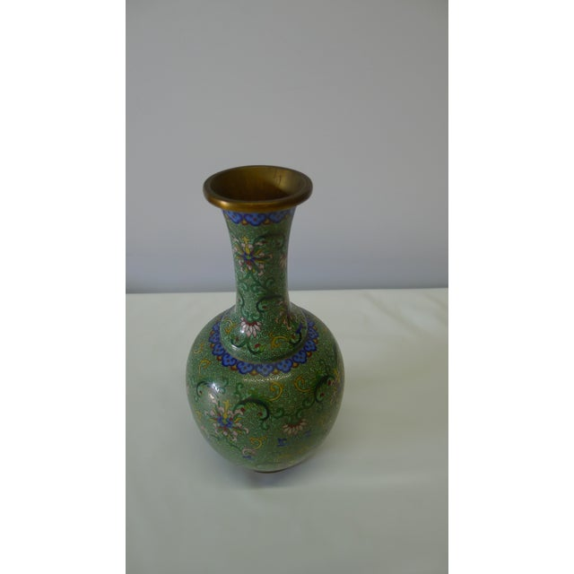 Chinese 20th Century Chinese Green Cloisonné Vase For Sale - Image 3 of 9