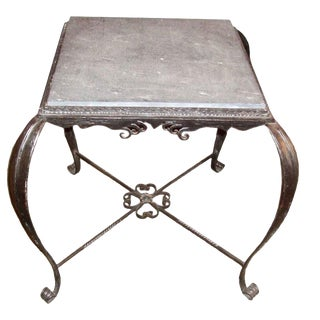 Mid-Century Iron and Slate Table For Sale