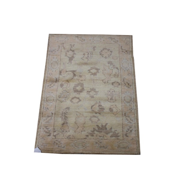 "Islamic Aara Rugs Inc. Hand Knotted Oushak Rug - 4'7"" X 3'0"" For Sale - Image 3 of 3"