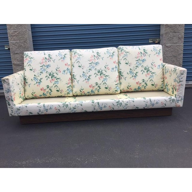 Mid Century Modern Milo Baughman Walnut Plynth Base Sofa For Sale - Image 6 of 10