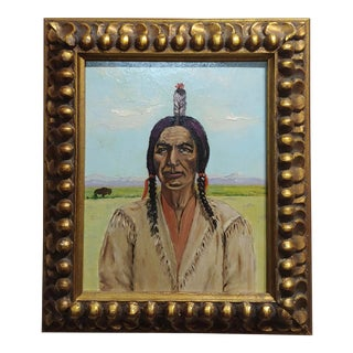 Joseph Hoffman -Portrait of Chief Joseph -Native American Oil Painting For Sale