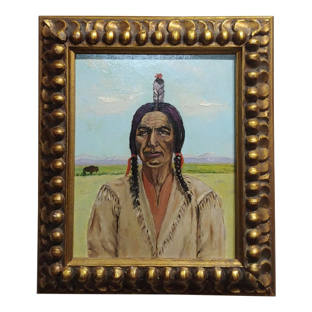 Joseph Hoffman -Portrait of Chief Joseph -Native American Oil Painting For Sale
