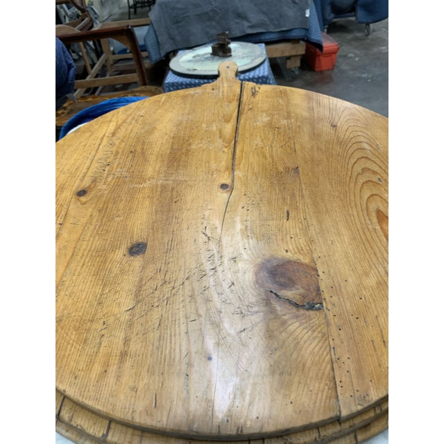 Early 20th Century Antique French Pine Boulangerie Round Breadboard For Sale - Image 9 of 13