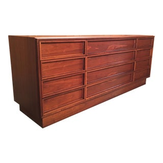 Vintage Mid Century John Keal for Brown Saltman Twelve Drawer Dresser For Sale