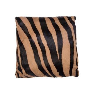 Pair of Zebra Stencil Printed Cowhide Hair Pillows For Sale
