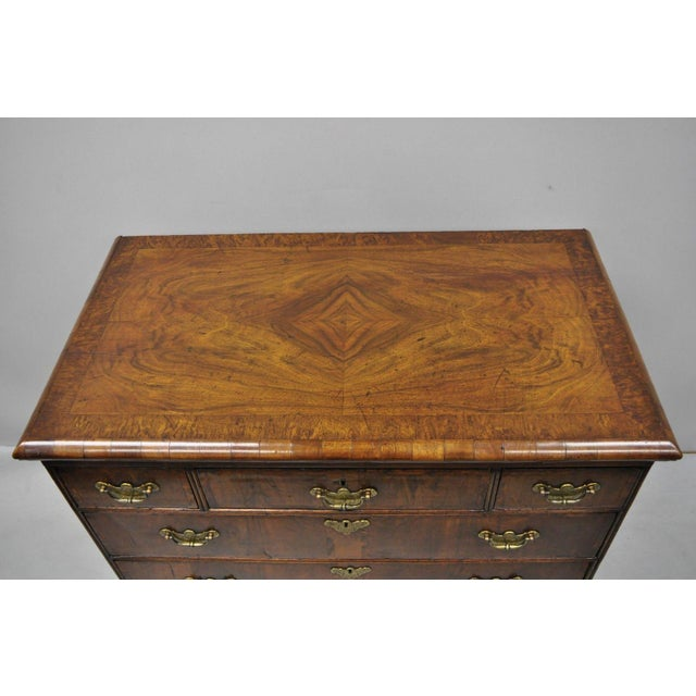 Queen Anne 19th Century Queen Anne Burr Walnut Inlaid Chest of Drawers For Sale - Image 3 of 13