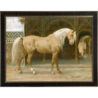 Andalusian Horse by Eerelman Framed in Italian Wood Vener Moulding For Sale