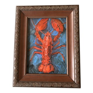 Original Contemporary Alexandra Brown Small Lobster Oil Painting Framed For Sale