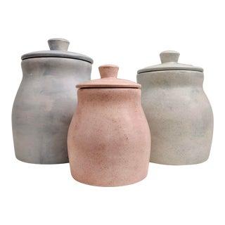 Organic Modern Boho Chic Pastel Lidded Vessels, Set of 3 For Sale