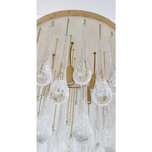 Mid Century Modern Brass & Murano Glass Drops Flush Mount Ceiling Light, Customizable For Sale - Image 9 of 13